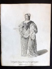 Jefferys C1760 Costume Print. English Lady of Quality in 1640 After van Dyke